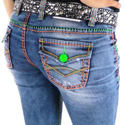 bafa46ecdde0 Damen Jeans mit bunten Nähten von Cipo   Baxx im Straight Fit Schnitt    Farbe  Blau